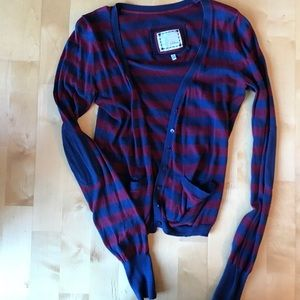 Lightweight maroon and navy striped cardigan